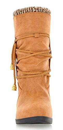 CHFSO Womens Trendy Waterproof Faux Fur Lined Slouchy Pull On Mid Calf Heighten Wedge Heel Platform Warm Winter Boots Yellow BVpxr5