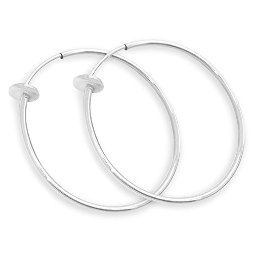 Silver Spring Hoops Earrings Clip On-Small, Medium & Large Silver Clip Hoop Earrings for Women (Bright Silver Large) ()
