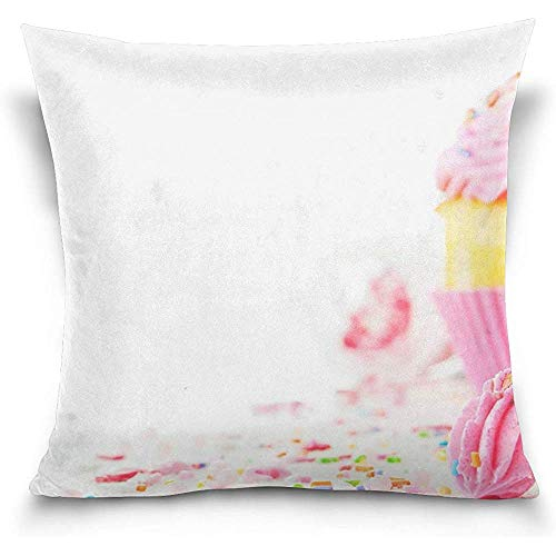 JAYESH Cupcake Decorative Throw Pillow Case Cushion Cover Pillowcase with Zipper for Sofa 18 x 18 Inch ()