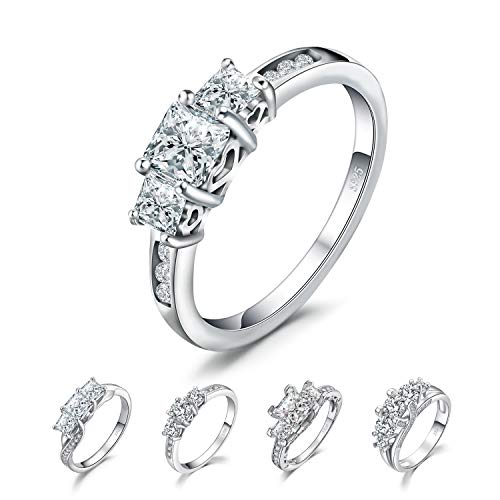 JewelryPalace Hollow Heart 3 Stone 1.7ct Princess Cut Cubic Zirconia Wedding Engagement Ring 925 Sterling Silver size - Princess 3 Earrings Stone