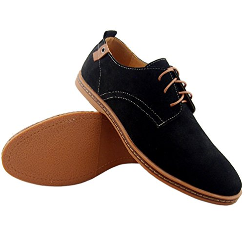 Dadawen Men S Dress Casual Oxfords Leather Shoes Black