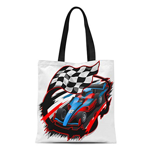 Semtomn Cotton Canvas Tote Bag Blue Speeding F1 Racing Car Checkered Flag Racetrack Red Reusable Shoulder Grocery Shopping Bags Handbag Printed ()