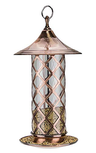 WLDOCA Bird Feeder,Metal Hopper Bird Feeder,Hanging Stand Seeds & Peanuts Wild Bird Feeder for The Garden Yard Outdoors Decoration
