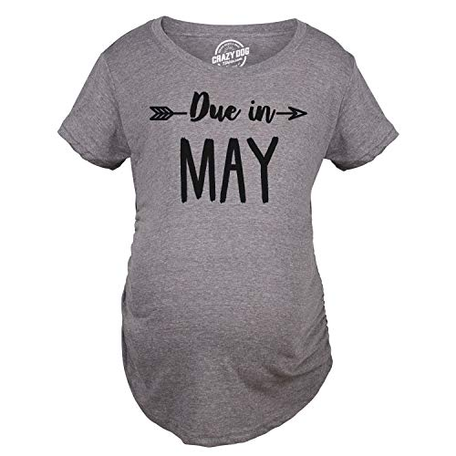 Shirt Pregnant di maternit Magliette May T in Tshirts Divertente Funny Crazy Due Shirts Shirts Announce Dog Pregnancy Month Maternity zwR6xqUfB