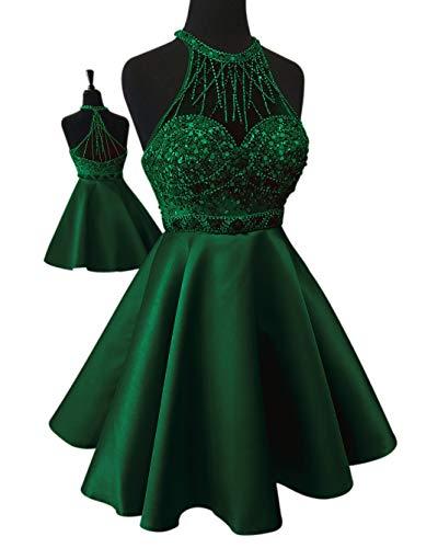 Beading Satin - Yangprom Halter Backless Beading Satin A-line Short Homecoming Dress Green 6