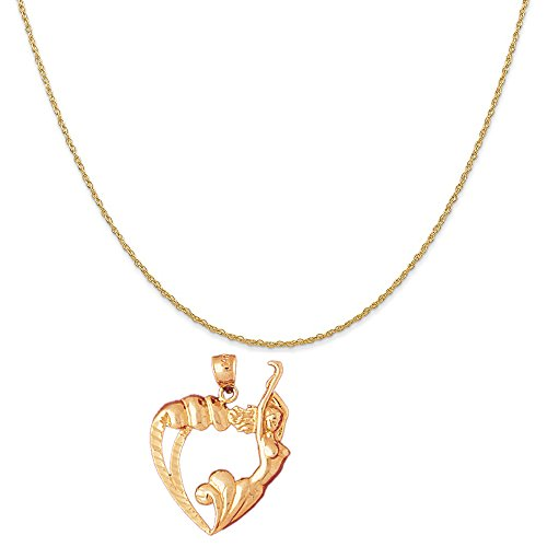 14k Yellow Gold Heart with Mermaid Pendant on a 14K Yellow Gold Carded Rope Chain Necklace, 18'' by Eaton Creek Collection
