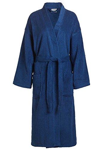 Terry Cloth Robe TowelRobes 100% Cotton Kimono Adult Unisex Bathrobe for Women and Men (Navy, (Terry Kimono)