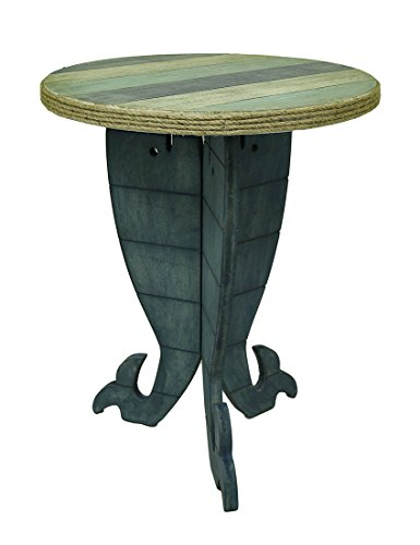 Zeckos Triple Whale Round Wooden Striped Accent Table 30 in. -