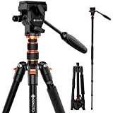 GEEKOTO 77 Inches Video Camera Tripod  Aluminum Tripod with 1/4 inch Screws Fluid Drag Pan Head  Professional Tripod for DSLR Cameras Video Camcorders Load Capacity Up to 20 Pounds