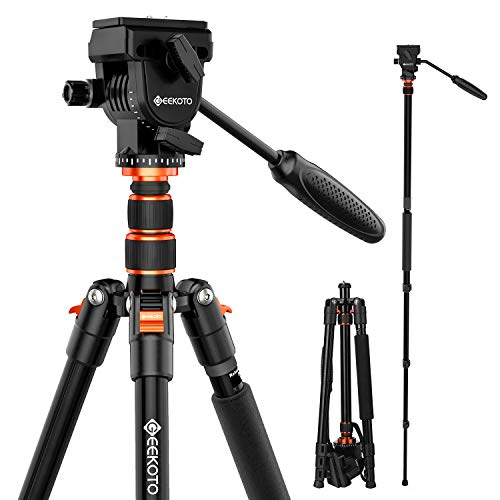 GEEKOTO 77 Inches Video Camera Tripod, Aluminum Tripod with 1/4″ Screws Fluid Drag Pan Head, Professional Tripod for DSLR Cameras Video Camcorders Load Capacity Up to 20 Pounds