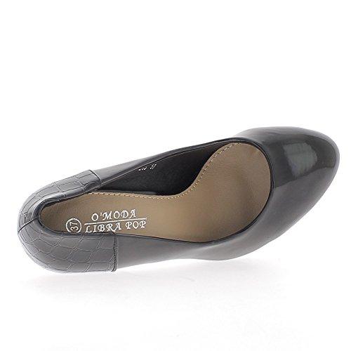 Escarpins femme bi matière vernis noirs talon de 11,5cm et plateforme