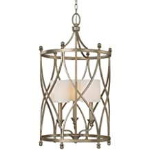 Capital Lighting 9082WG-484 Foyer with White Fabric Shades, Winter Gold Finish