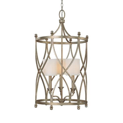 (Capital Lighting 9082WG-484 Foyer with White Fabric Shades, Winter Gold Finish)