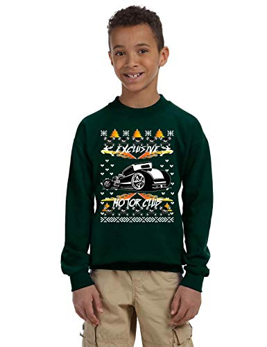 (Allntrends Kids Youth Sweatshirt Hot Rod Ugly Christmas Motor Lover (M, Forest Green))