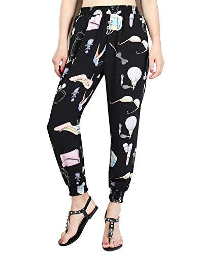 Donna Pantaloni Harem Vintage Fashion Stampato Pattern Tempo Libero Pantaloni Vita Elastica Festa Style High Waist Eleganti Sciolto Hippie Pantaloni Estivi Pluderhose Ragazze Colour-11