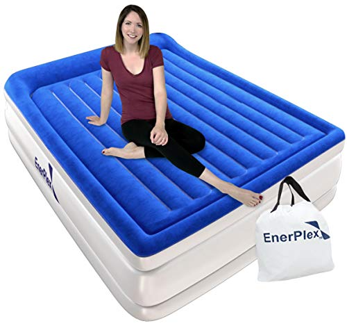 EnerPlex Custom Beam Queen Air Mattress with Built-in Pump Luxury Pillow Top Airbed Queen Size, Raised Double High Elevated Blow Up Bed Inflatable Queen Airbed for Home Camping Travel, 2-Year Warranty