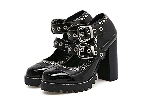 Heel Shoes Court Color 41 Mary Pump Jane 5cm Shoes Punk Chunly Handsome Match Toe Shoes Women Round Rivets Eu Heels Size 10 Dress Black High Shoes 35 4xwPaxt