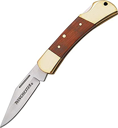 winchester 22 41324 brass folding knife 2 5 in blade amazon com