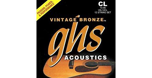 GHS Strings GHS Vintage Bronze Acoustic Guitar Strings-12 String Set-Custom Light (010-046) (VN-12CL