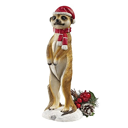Design Toscano Christmas Decorations - Merry Meerkat Holiday Porch Greeter Meerkat Statue: Set of Two -
