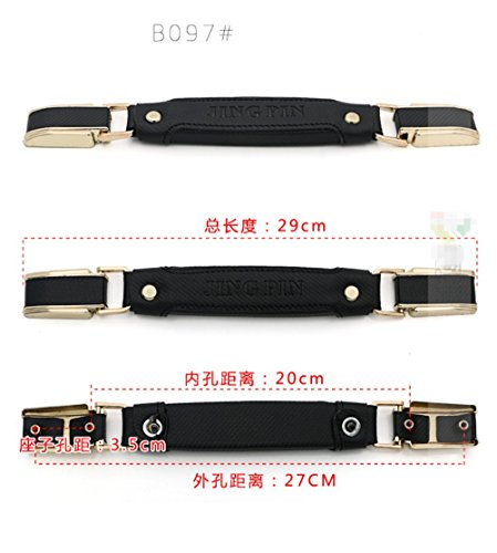 1pcs/set Leather + Metal Luggage Suitcase Handle Pulls for replacement luggage parts Door Strap / handle Password Draw bar box DIY B097# Black stripe by GH8