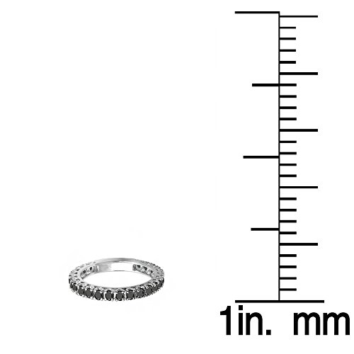 1.00 Carat (ctw) 10K White Gold Round Black Diamond Eternity Sizeable Stackable Ring Anniversary Band