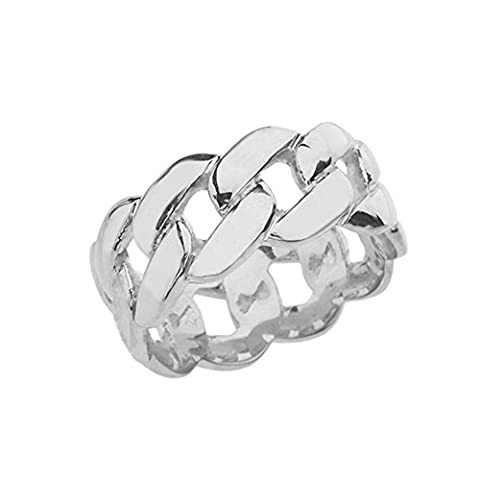 Sterling Silver Gracious 10 mm Unisex Cuban Link Chain Eternity Band Ring (Size 9) - Sterling Silver Cuban Link Chain