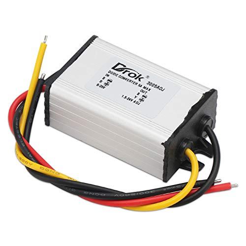 Voltage Reducer, DROK DC-DC Buck Converter DC 8-35V to DC 1.5-24V 5A Power Supply Step Down Regulator Module 24V 12V 5V Output Adjustable Mini Volt Transformer Stabilizer Board
