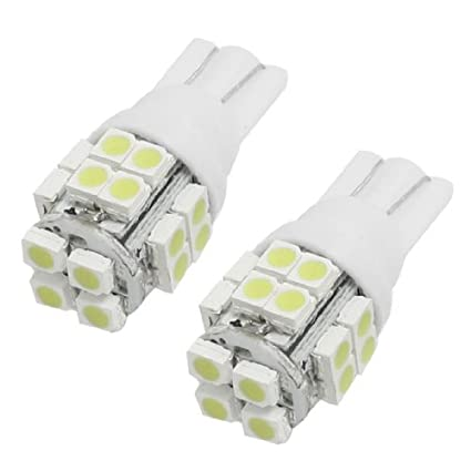 Amazon.com: eDealMax 2 piezas de coches Auto Blanco T10 20 SMD 1210 158 168 194 LED de luz de la lámpara del bulbo: Automotive