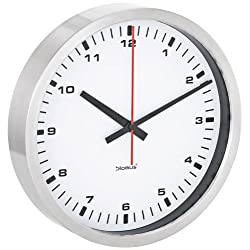 Blomus Wall Clock, Stainless Steel Frame, White Face, 30 centimeters