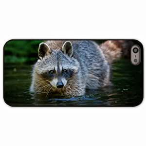 iPhone 5 5S Black Hardshell Case raccoon water walk animal Desin Images Protector Back Cover