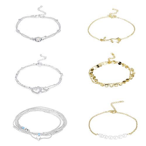 Besteel 6 Pcs Anklets for Women Girls Ankle Chain Bracelets Sexy Beach Anklets Foot Jewelry Adjustable