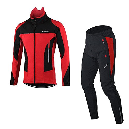 Lixada Men's Jacket Winter Waterproof Thermal Breathable Cycling Clothing Sets Riding Long Sleeve Sportswear+Bicycle Pants Trousers (Sportswear Thermal)