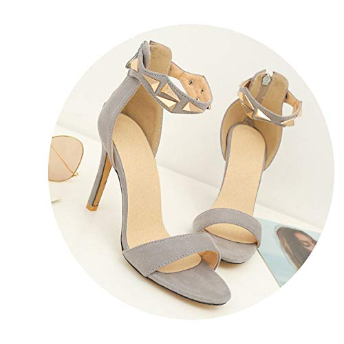 Collocation-Online Women Shoes Flock Super high Thin Heel Zip Rivet Three Colors Outside Sexy Large Sandals,Grey,8.5