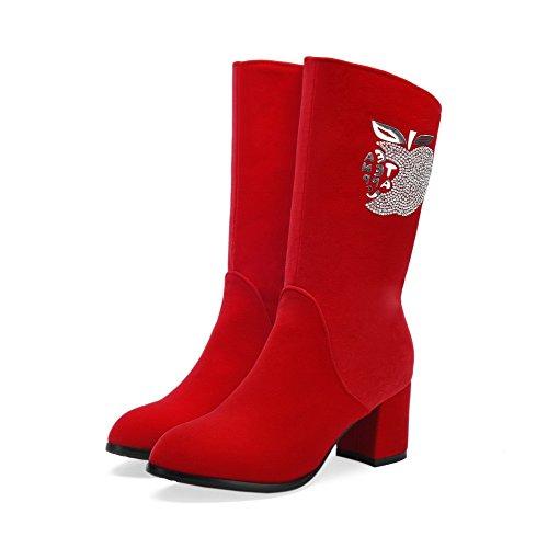 AllhqFashion Mujeres Puntera Redonda Tacón Medio Esmerilado Caña Baja Sólido Botas Rojo