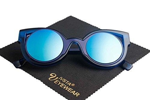 IVSTA Cat Eye Mirrored Flat Lenses Vintage Fashion Metal Frame Women Ladies Sunglasse with Case