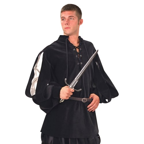 [Cavalier Black Velvet Renaissance Shirt - Black/Silver - S/M (Period Clothing)] (Medieval Shirt Adult Costumes)