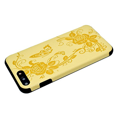 "inShang iPhone 7 Plus 5.5"" Funda y Carcasa para iPhone 7 Plus 5.5 inch case iPhone7 Plus 5.5 inch móvil,Ultra delgado y ligero Material de TPU,carcasa posterior (Back case) con , Yellow butterfly flower"