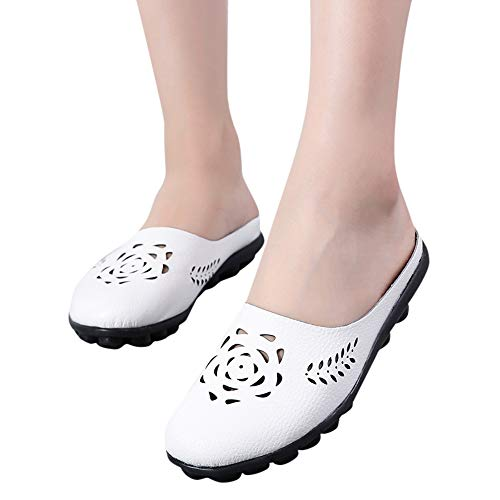 NRUTUP Women Shoes Lady Flats Sandals Slip-On Ankle Casual Slipper Soft Shoes (White,39) ()