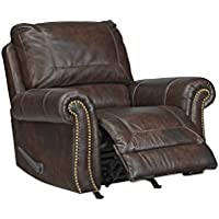 Ashley Bristan Collection 8220225 Rocker Recliner with Leather Upholstery Stitched Detailing Nail Head Accents Rolled Arms and Traditional Style in
