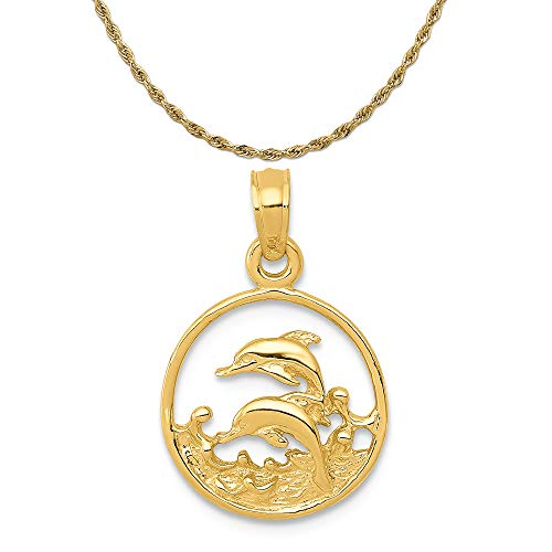 Mireval 14k Yellow Gold Double Dolphin Circle Pendant on a 14K Yellow Gold Rope Chain Necklace, 16