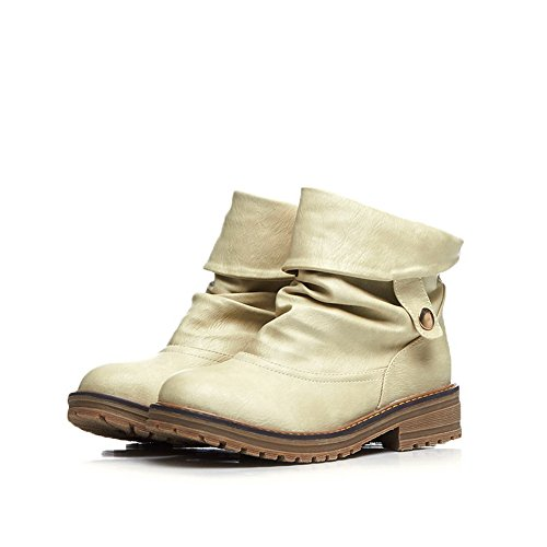 Skidding Buckle Imitated Bottom BalaMasa Square Heels Leather Pull on White Boots Anti Girls xBzzYIqF
