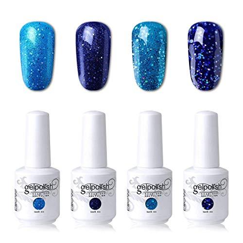 (Elite99 Soak Off Gel Polish Lacquer UV LED Nail Art Manicure Kit 4 Colors Set LM-C102 + Free Gift (20pcs Gel Remover Wraps) …)
