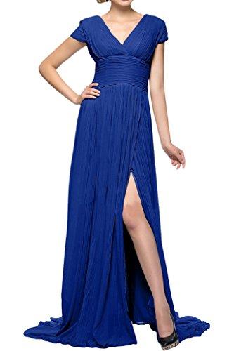 ivyd ressing Mujer Fácil V de recorte Ranura croma Prom vestido fijo para vestido de noche Azul Real