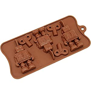 Freshware CB-606BR 6-Cavity Silicone Robot and Key Chocolate, Candy and Gummy Mold