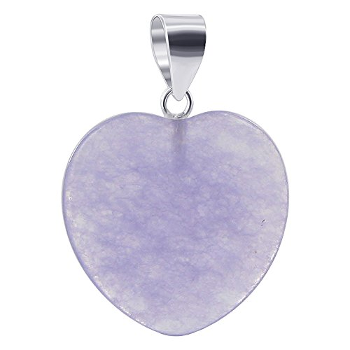 Gem Avenue 925 Sterling Silver 20mm Heart Light Purple Gemstone - Jade Purple Pendant