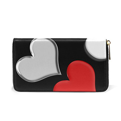Heart Genuine Leather Girl Zipper Wallets Clutch Coin Phone for Women (Heart Girl Wallet)