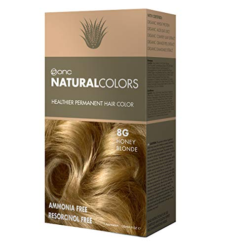 ONC NATURALCOLORS 8G Honey Blonde Healthier Permanent Hair Color Dye 4 fl. oz. (120 mL) with Certified Organic Ingredients, Ammonia-free, Resorcinol-free, Paraben-free, Low pH, Salon Quality, Easy to