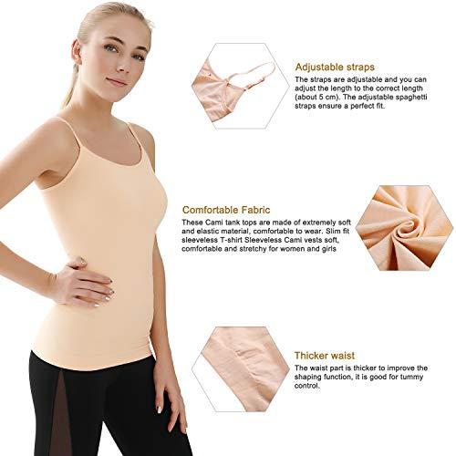 B.Bang Women Tummy Control Shapewear Camisole Vest with Adjustable Spaghetti Strap Sleeveless Basic Camis Tank Shaper Top