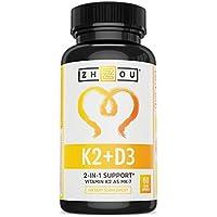 Zhou Nutrition Vitamin K2 (MK7) with D3 Supplement